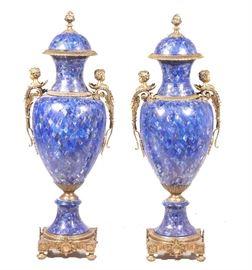 Pair Palace Size Louis XV Style Lapis Lazuli Bronze Mounted Urns