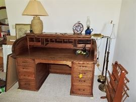 Walnut roll top desk used by Judge Charles Keller Champaign County circuit court judge.  Awesome shape