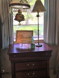 Nightstand (2-available, part of Suite),                                       Vintage Hanging Light...brass, glass & crystal prisms,             Buffet Lamp