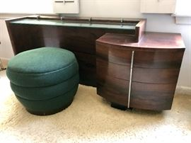 Gilbert Rohde for Herman Miller No. 3770 Rosewood Vanity and No. 362 Ottoman c. 1940