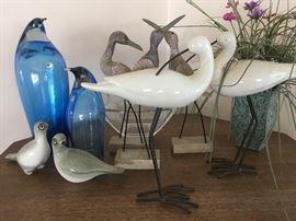 Blenco glass penguins, Howard Pierce doves & carved &ceramic shore birds