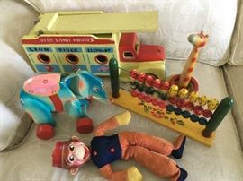 Vintage painted wood toys