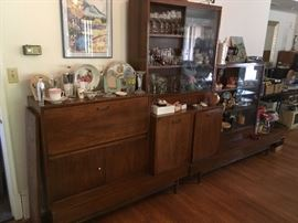 Mid -Century  wall unit including bar & china cabinet