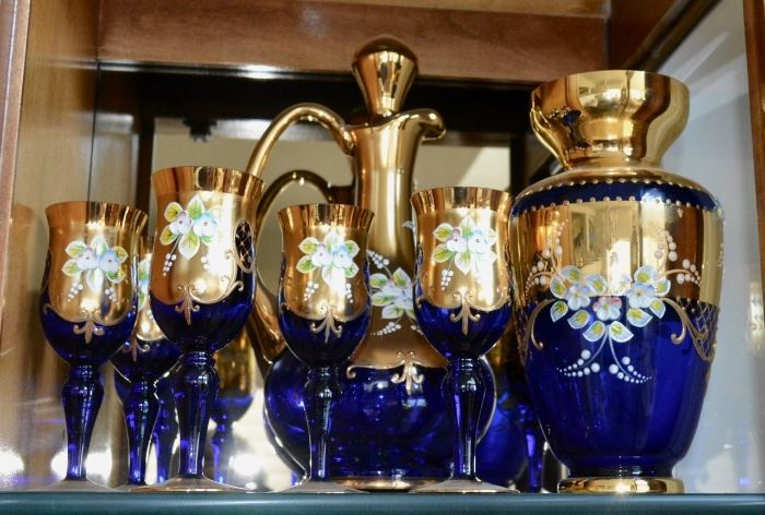 Italian Gold and Floral Accent Decanter Set