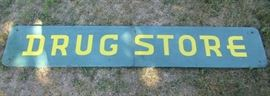 Large Vintage metal Drug Store Sign