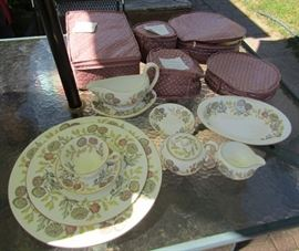 Wedgwood Bone China Set for #8 with Teapot & serving pieces