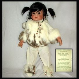 Gorgeous Doll with Real Fur Jacket, The COA Reads; Eskimo Baby Chyna by Darlyne Davis 7/75