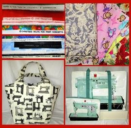 High End Fabrics, Holly Taylor for Moda, Moda Marbles, Print Concepts, Cheri L. Strole Moda, Grunge for Moda, Debbie Field, Very Nice Sewing Totes and a Small Sample of the Loads of Great Fabrics Available