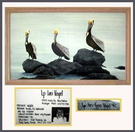 Original Lori Vogel Large Signed Pelican Painting, Just Stunning!
