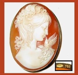Finely Carved Cameo with Excellent Detail Set in 18K Gold; marked 750 and  just under 2 inches