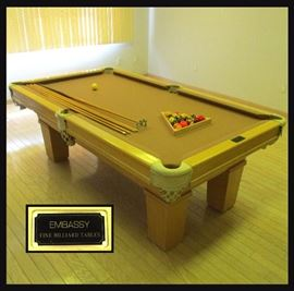 Embassy Fine Billiard Table with Cue Sticks, Balls and a Cover; Great Condition