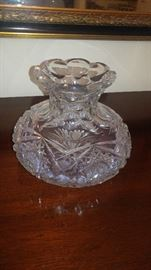 Vintage cut glass crystal vase
