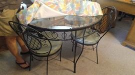 Pretty glass and wrought iron table and chair kitchen set