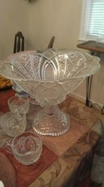 Antique pressed glass punch bowl & cups