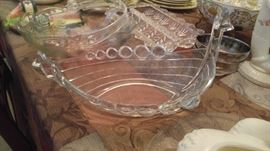 Amazing antique crystal swan dish
