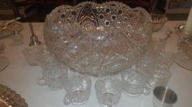 Antique crystal punch bowl beautiful shape