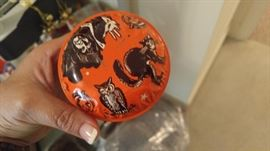 Vintage Halloween metal toys noise maker