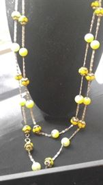 Vintage glass bead necklace canary yellow