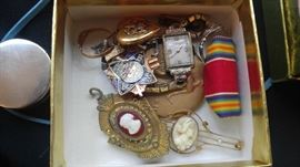 Antique jewelry watches shell cameo's & more