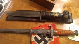WWII Vintage German dagger officer's with swastika and swastika armband