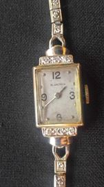 Antique Art Deco Blancpain Diamond & 14k white gold Elongated Lady's Watch