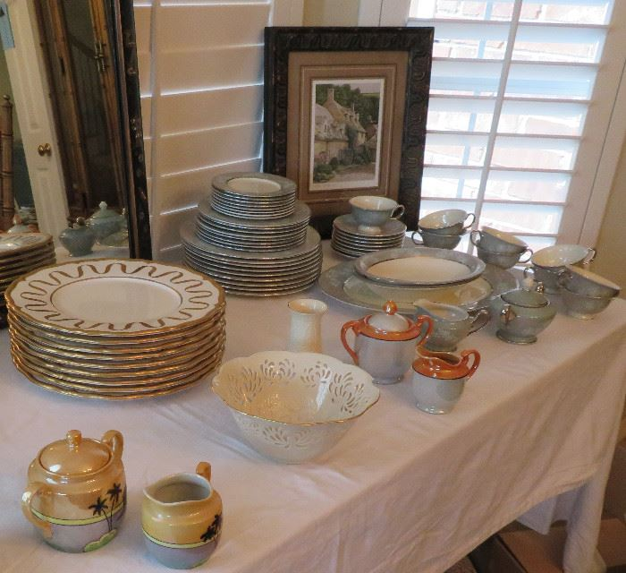 Gold & white chargers from Gump's, Japanese lusterware, Lenox
