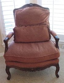 One of two Sherrill Furniture French Bergere chairs