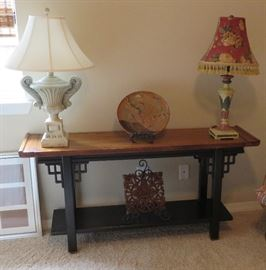 Brandt Asian style console table, lamps