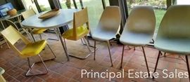 Retro Mid Century dining set; Minimalist Mid Century side chairs