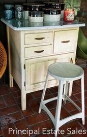 1930s Napanee Bread cabinet - Hoosier style with enamel top