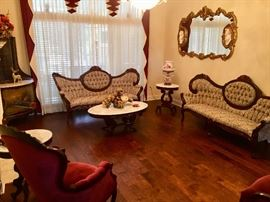Victorian style furniture with large  guilded trimmed mirrors
