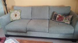 """Macy's""  Green Microfibre Sofa w/2 side pillows"