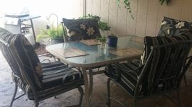 Glass Top Patio Table, 4 metal chairs, cushions-matching pillow backs