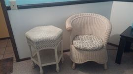 Old wicker chair w/cushion, table
