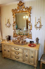 Broyhill Premier dining furniture (dining table with 8 chairs, china cabinet, and sideboard), large ornate gilt mirror, crystal sconces