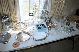 Silverplate and glassware