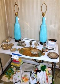 Retro ceramic lamps, silverplate and a few sterling pieces, kitchen towels