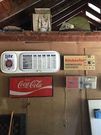 Coca Cola Sign, Kitchen Aid Sign, and other signs