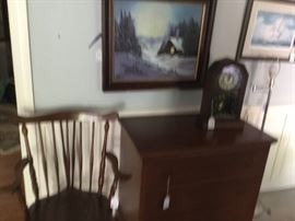 Batchelor's chest, antique clock and a Windsor arm chair