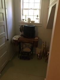 Treadle sewing machine and some pottery
