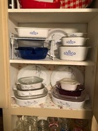 more views of the traditional blue and white corning ware and the modern version