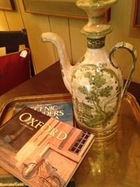 Great coffee table books;  brass tray;  vintage pitcher