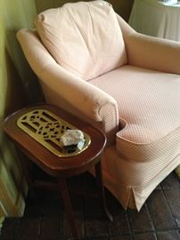 Small side table with brass; club chair
