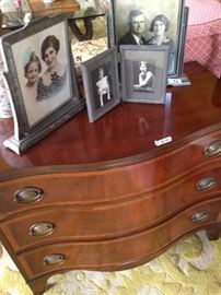 Vintage frames; 3-drawer curved front chest