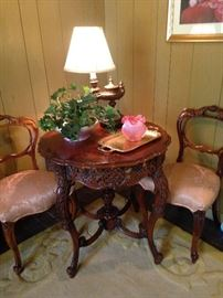 Pair of Victorian style balloon back parlor chairs; pink Fenton vase; genie oil lamp shaped- light