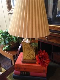 Brass lamp with pleated lamp