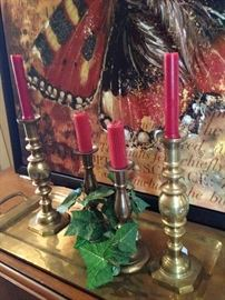 Brass tray and candlesticks
