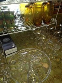 Vintage green glassware; other glasses and serving pieces