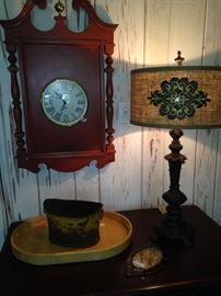 Clock, lamp, and decor