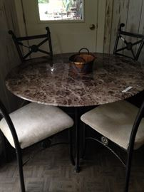 Marble-like top table with 4 chairs